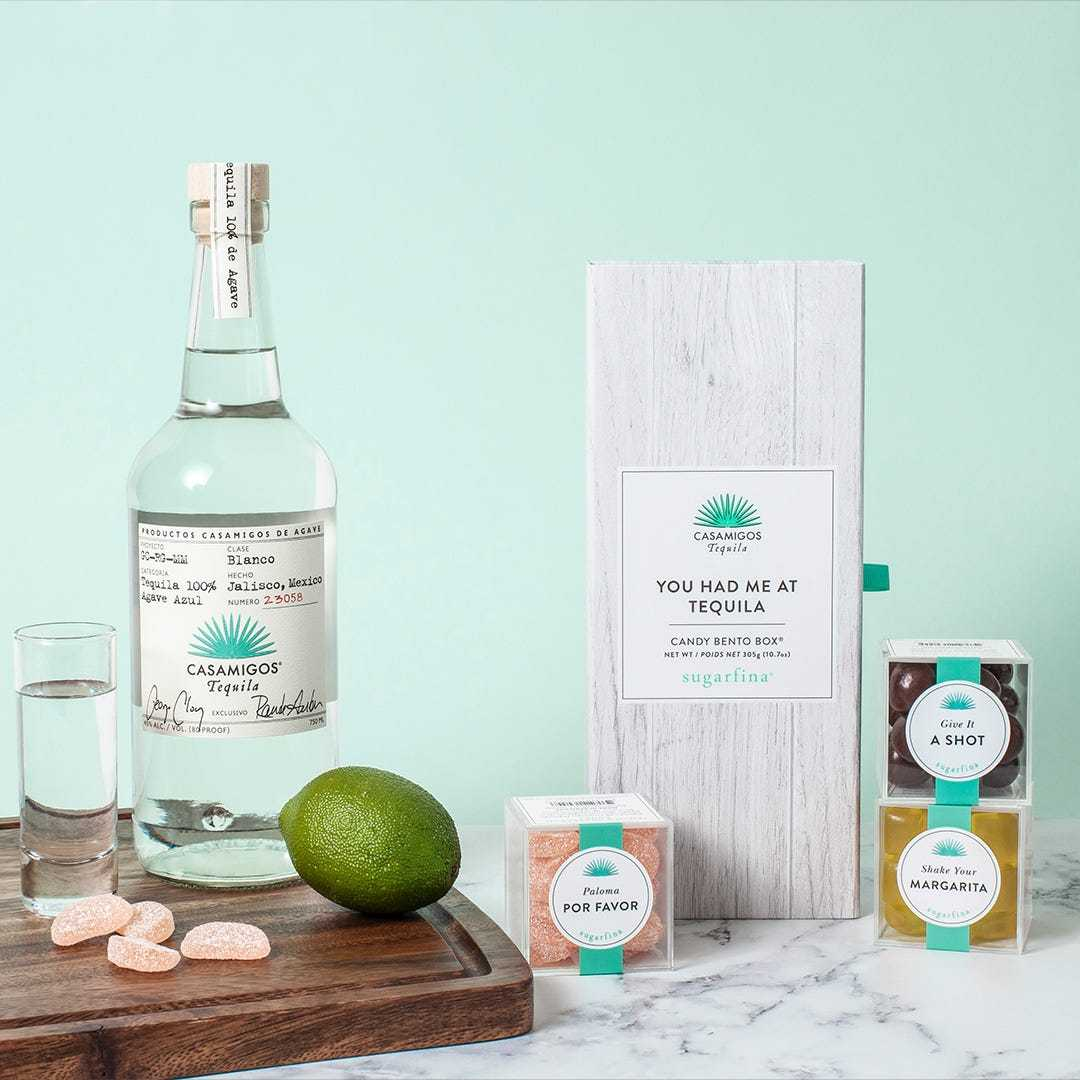 Casamigos Tequila Candy Collection showing Paloma Sours, Shake Your Margarita gummies, and Gift It A Shot chocolate cordials tequila-infused candies