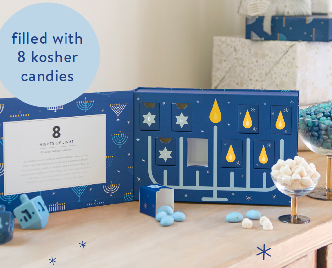 This Hanukkah tasting collection was made for creating memories and sweet new traditions. With each passing night, a new candy is revealed and a candle gets its light.
